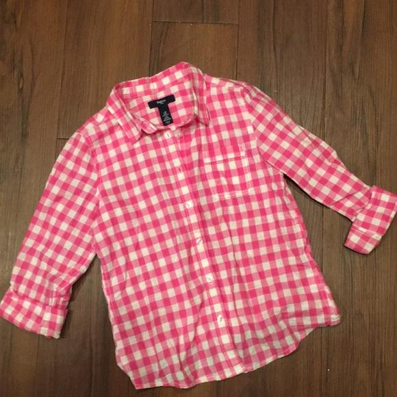 bdff8f30d749a0 GAP Shirts & Tops | Kids Button Down Hot Pink Gingham Shirt | Poshmark